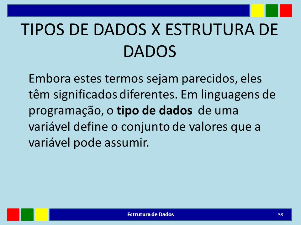 TIPOS DE DADOS X ESTRUTURA DE DADOS