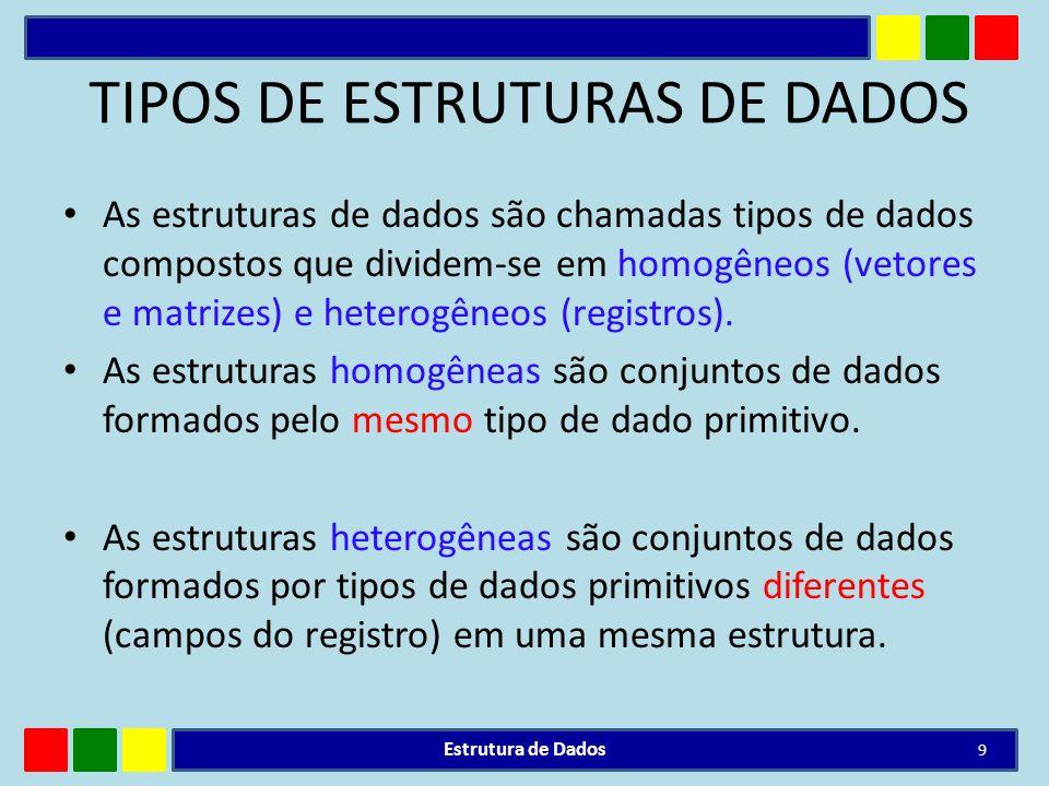 TIPOS DE ESTRUTURAS DE DADOS