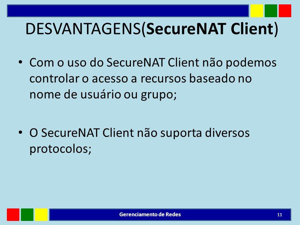 DESVANTAGENS(SecureNAT Client)