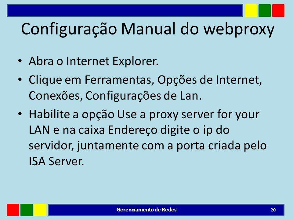 Configuração Manual do webproxy