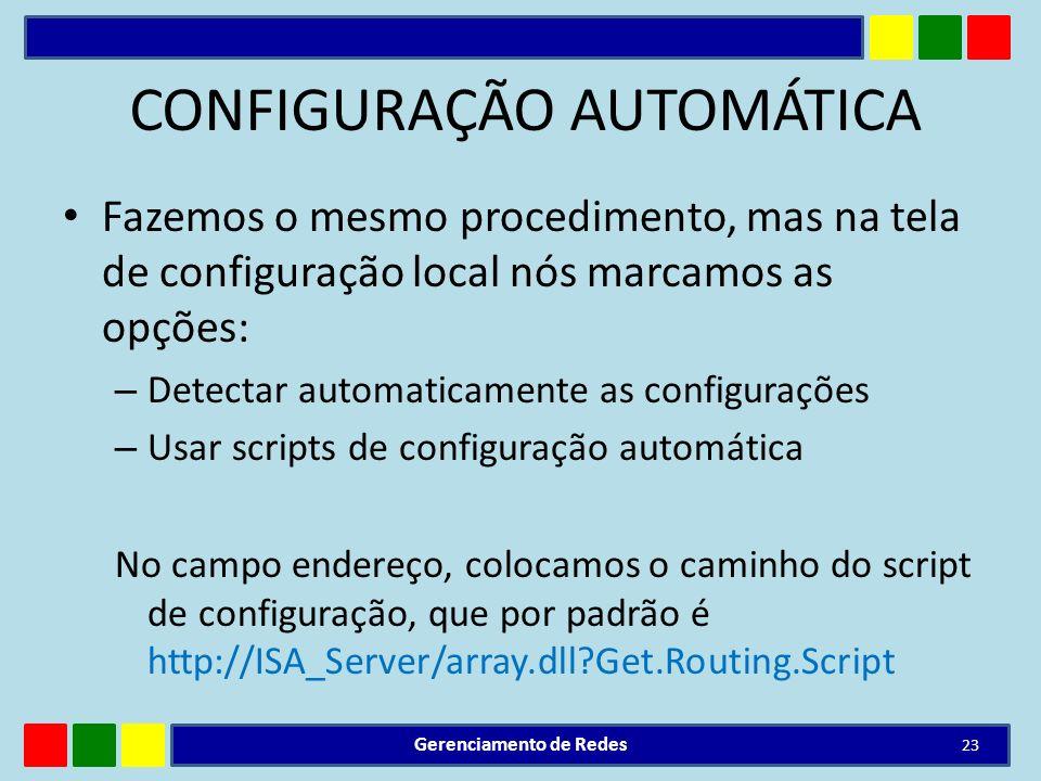 CONFIGURAÇÃO AUTOMÁTICA