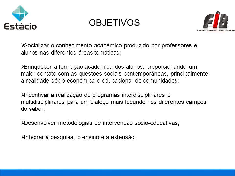 2OBJETIVOS Socializar o conhecimento acadêmico produzido por professores e alunos nas diferentes áreas temáticas;
