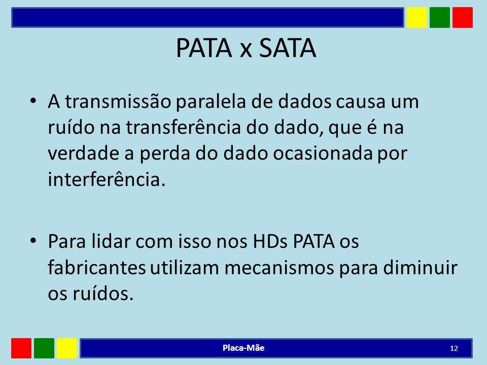PATA x SATA A transmissão paralela de dados causa um ruído na transferência do dado, que é na verdade a perda do dado ocasionada por interferência.