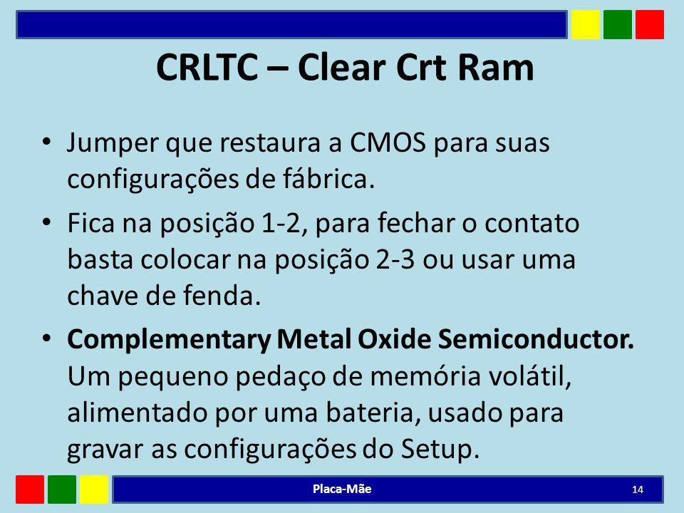 CRLTC – Clear Crt Ram Jumper que restaura a CMOS para suas configurações de fábrica.