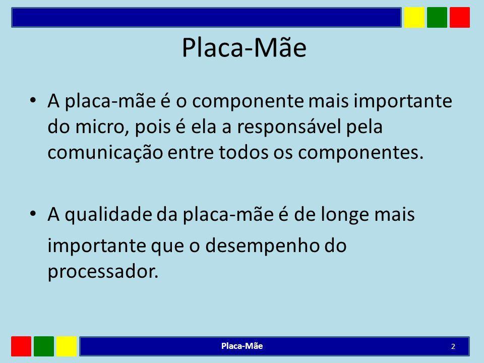 Placa-Mãe A placa-mãe é o componente mais importante do micro, pois é ela a responsável pela comunicação entre todos os componentes.