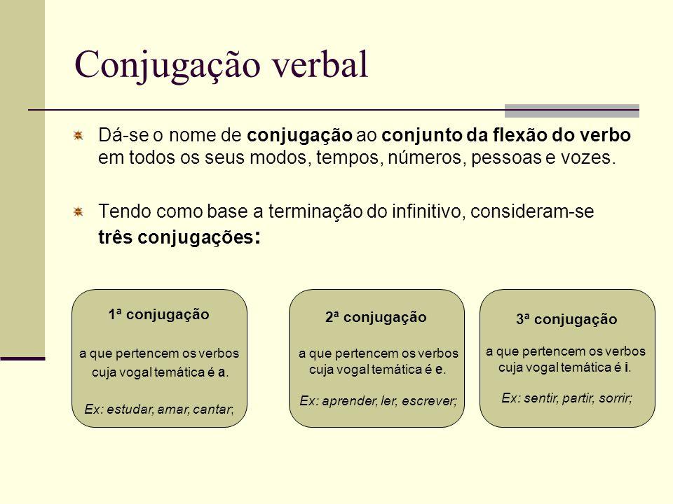 Conjugação verbalDá-se o nome de conjugação ao conjunto da flexão do verbo em todos os seus modos, tempos, números, pessoas e vozes.