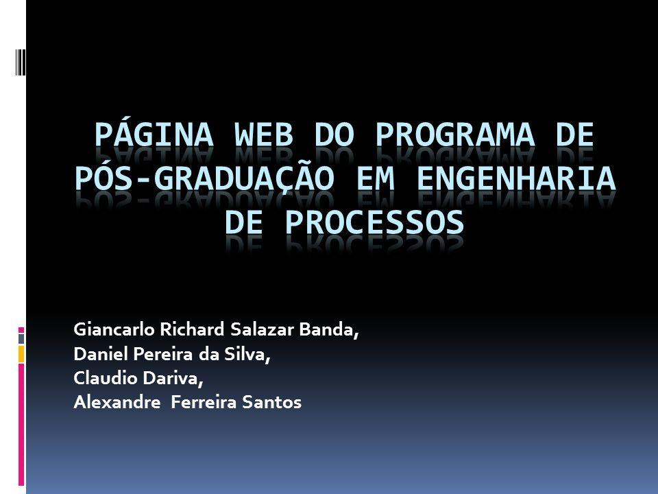 página web do PROGRAMA DE PÓS-GRADUAÇÃO EM ENGENHARIA DE PROCESSOS
