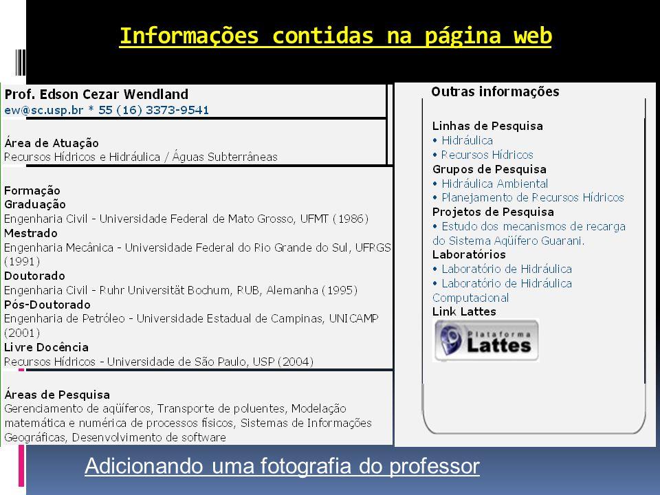Informações contidas na página web