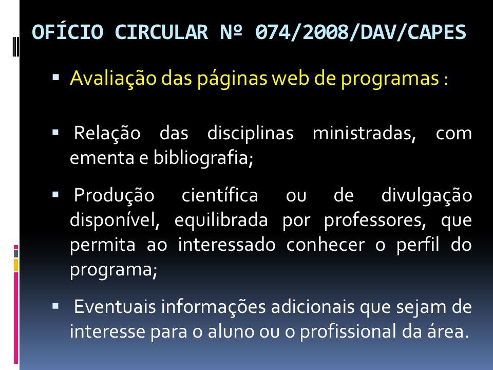 OFÍCIO CIRCULAR Nº 074/2008/DAV/CAPES