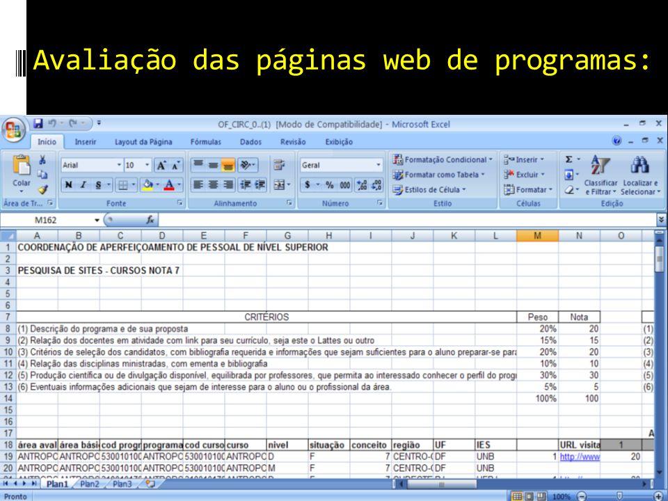 Avaliação das páginas web de programas: