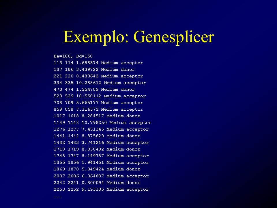 Exemplo: Genesplicer Da=100, Dd=150 113 114 1.685374 Medium acceptor