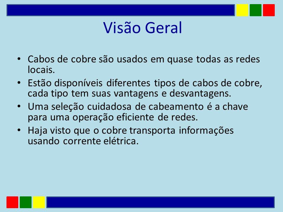 Visão Geral Cabos de cobre são usados em quase todas as redes locais.