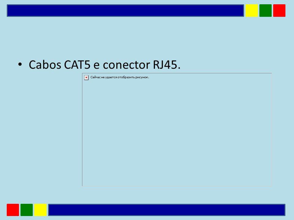 Cabos CAT5 e conector RJ45.