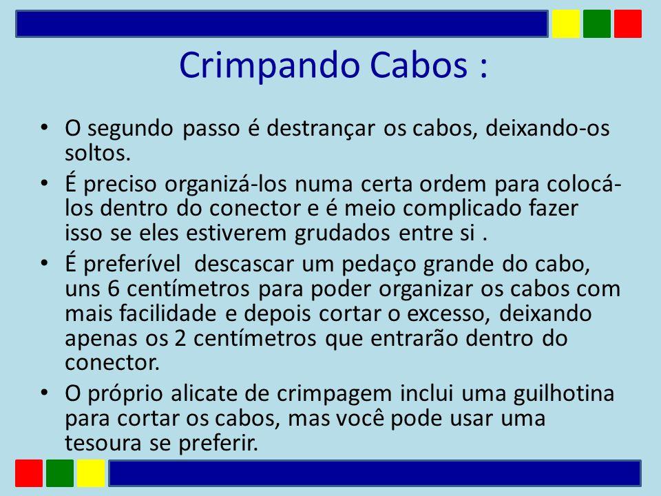 Crimpando Cabos : O segundo passo é destrançar os cabos, deixando-os soltos.