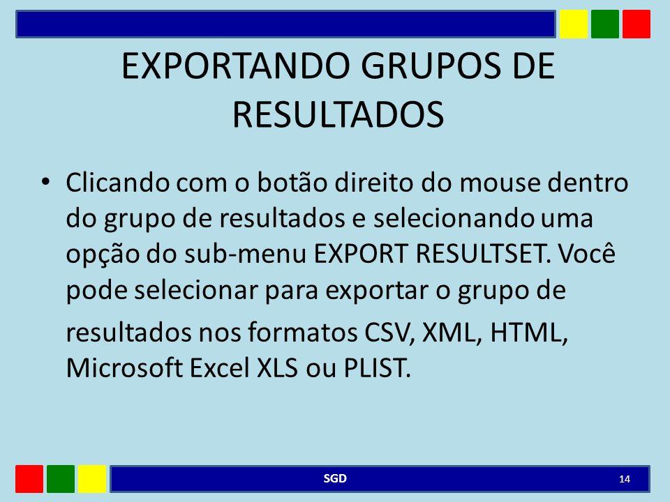 EXPORTANDO GRUPOS DE RESULTADOS