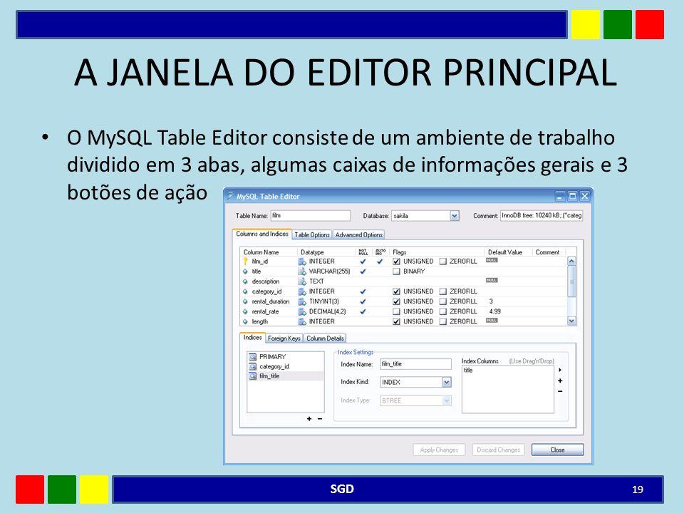 A JANELA DO EDITOR PRINCIPAL