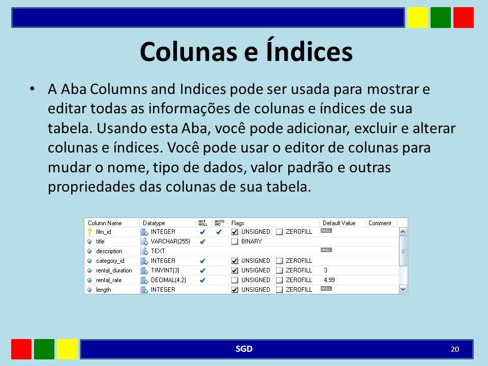 Colunas e Índices
