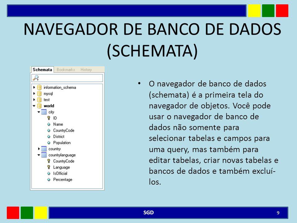 NAVEGADOR DE BANCO DE DADOS (SCHEMATA)