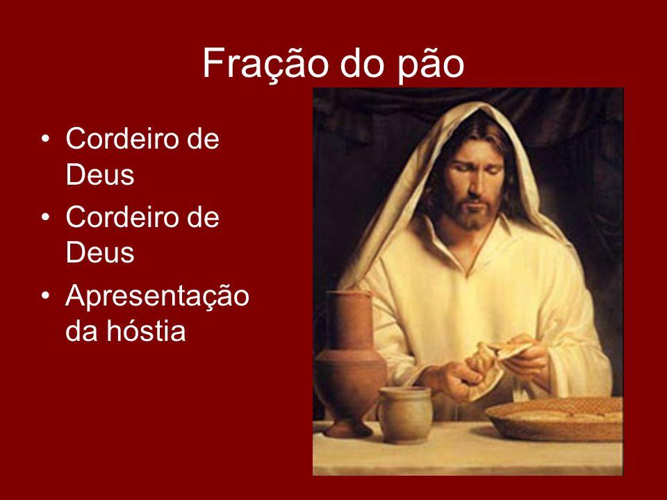 Fração do pão Cordeiro de Deus Apresentação da hóstia