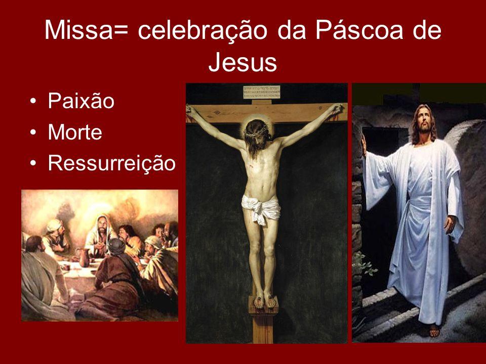 Missa= celebração da Páscoa de Jesus