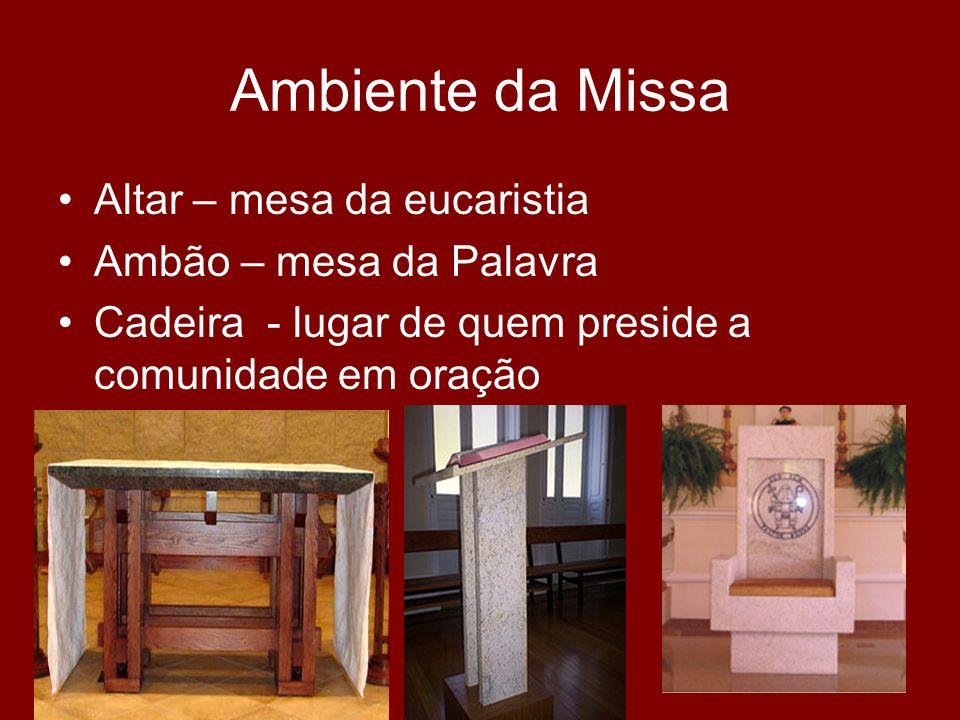 Ambiente da Missa Altar – mesa da eucaristia Ambão – mesa da Palavra