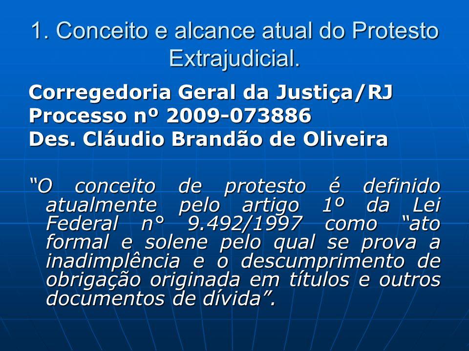 1. Conceito e alcance atual do Protesto Extrajudicial.