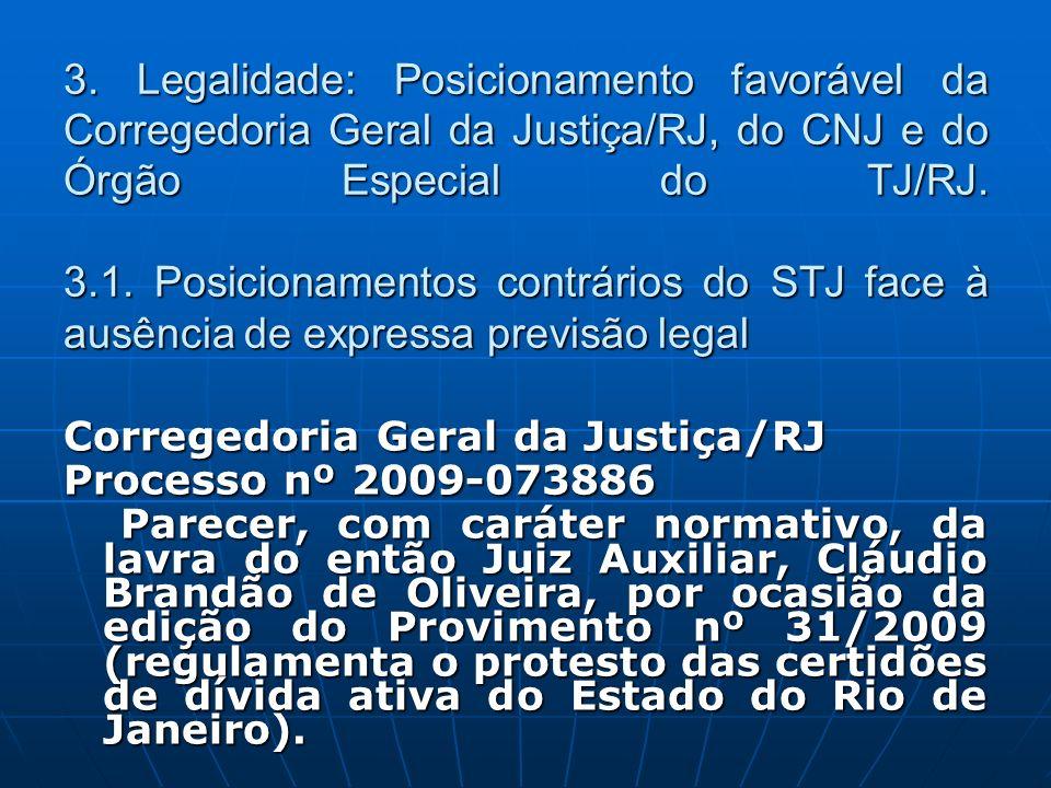3. Legalidade: Posicionamento favorável da Corregedoria Geral da Justiça/RJ, do CNJ e do Órgão Especial do TJ/RJ. 3.1. Posicionamentos contrários do STJ face à ausência de expressa previsão legal