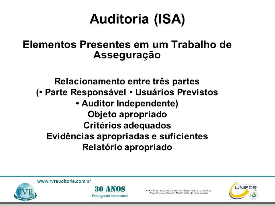 Auditoria (ISA) Elementos Presentes em um Trabalho de Asseguração