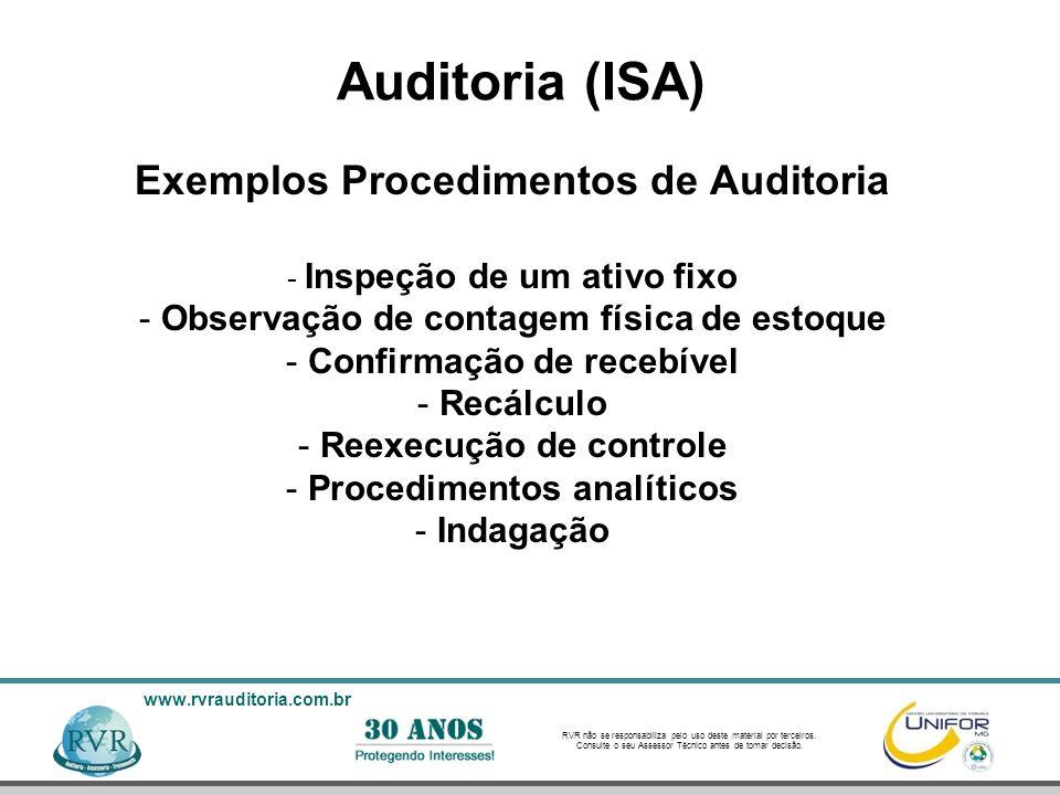 Auditoria (ISA) Exemplos Procedimentos de Auditoria