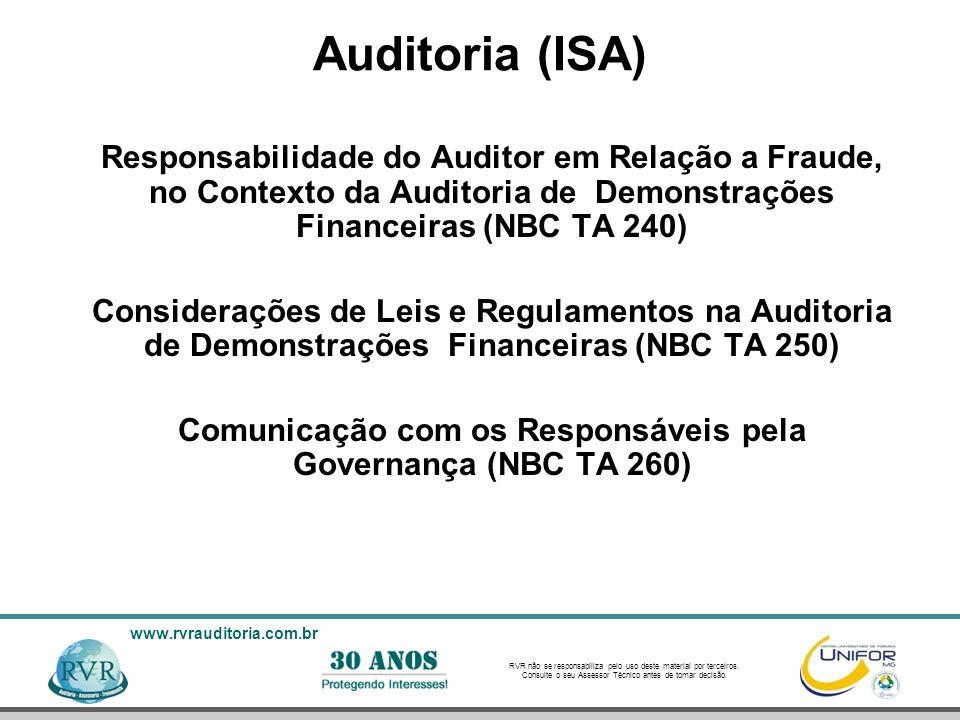 Comunicação com os Responsáveis pela Governança (NBC TA 260)