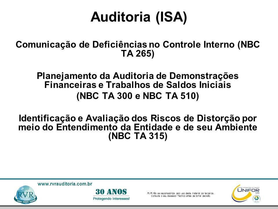 Comunicação de Deficiências no Controle Interno (NBC TA 265)