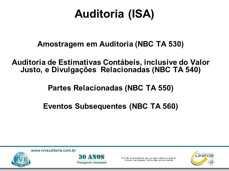 Amostragem em Auditoria (NBC TA 530) Eventos Subsequentes (NBC TA 560)