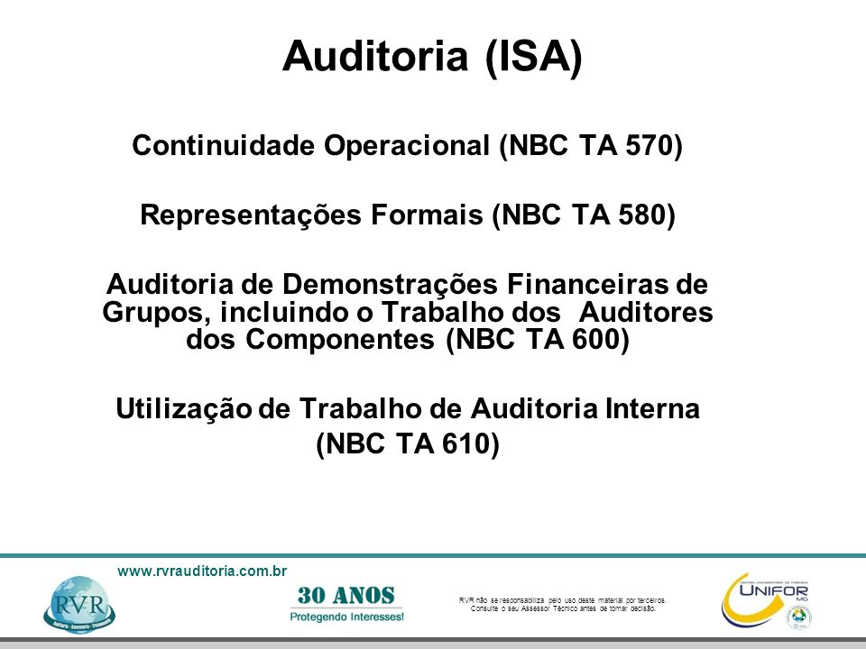 Auditoria (ISA) Continuidade Operacional (NBC TA 570)