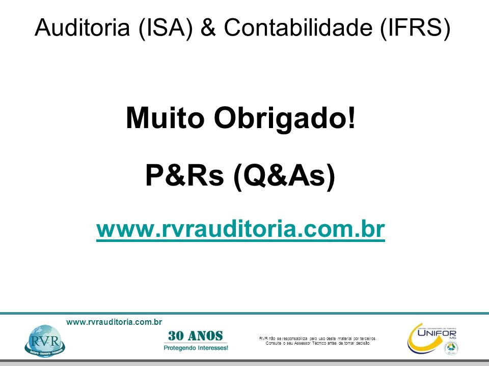Auditoria (ISA) & Contabilidade (IFRS)