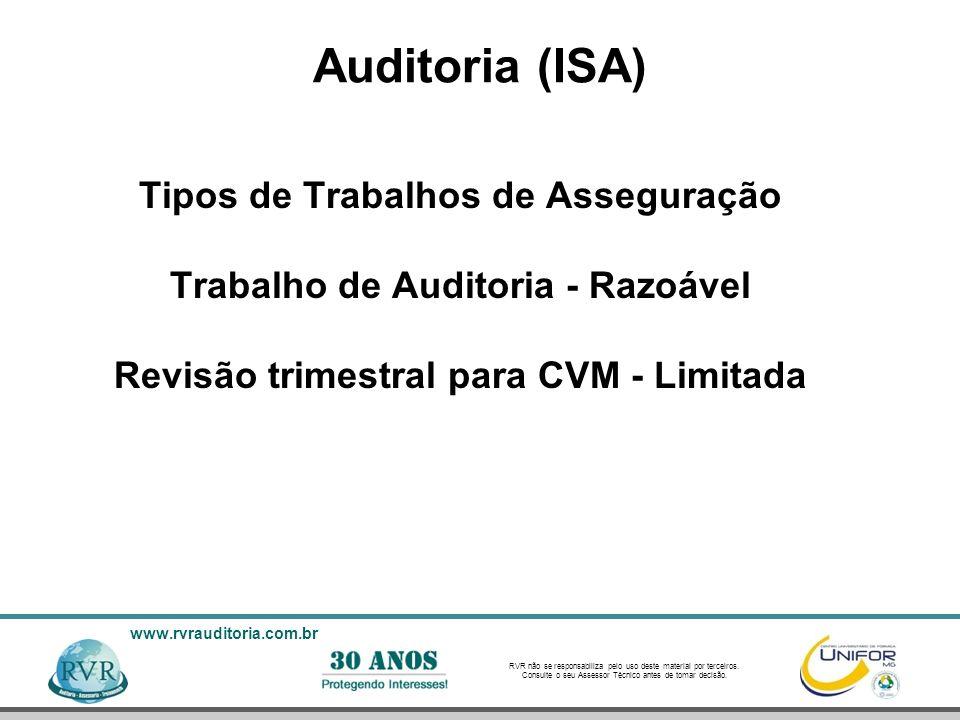 Auditoria (ISA) Tipos de Trabalhos de Asseguração