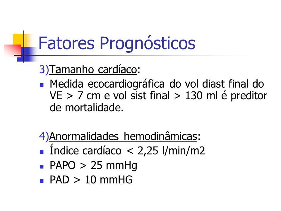 Fatores Prognósticos 3)Tamanho cardíaco: