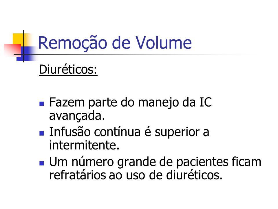 Remoção de Volume Diuréticos: Fazem parte do manejo da IC avançada.
