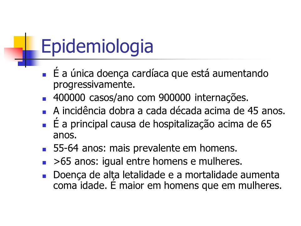 Epidemiologia É a única doença cardíaca que está aumentando progressivamente. 400000 casos/ano com 900000 internações.