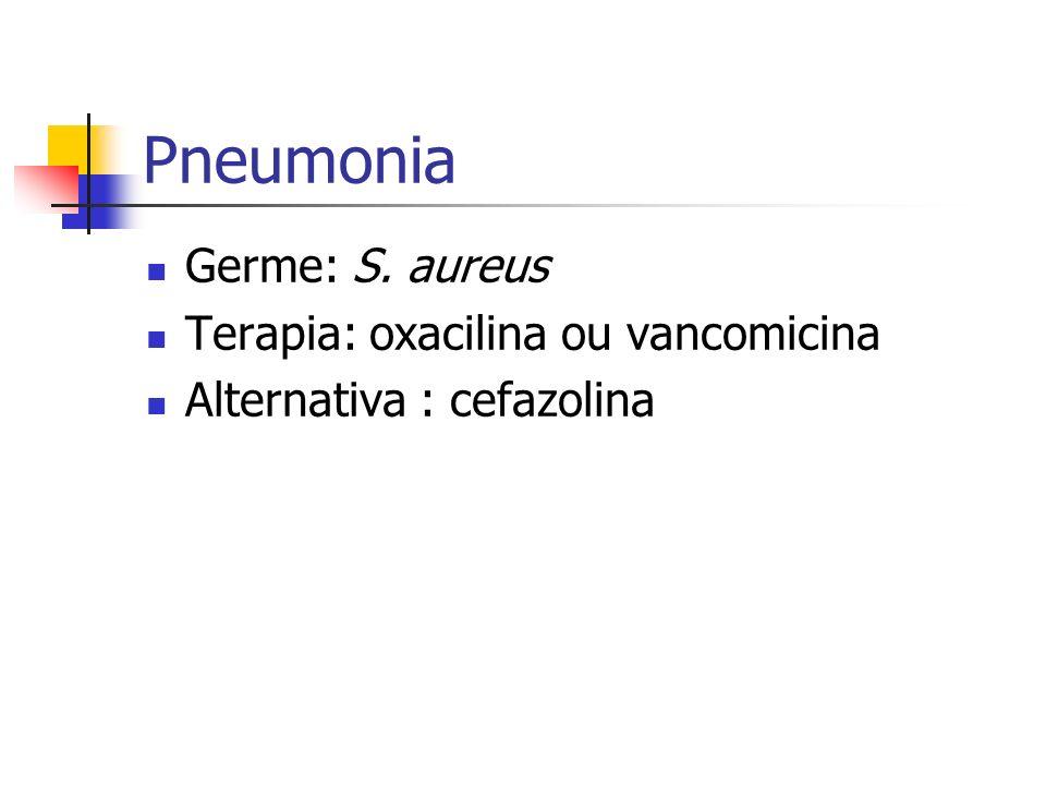 Pneumonia Germe: S. aureus Terapia: oxacilina ou vancomicina