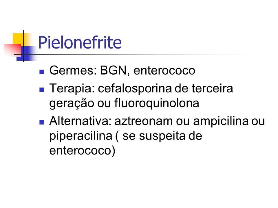 Pielonefrite Germes: BGN, enterococo