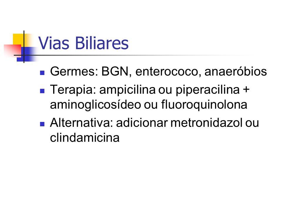 Vias Biliares Germes: BGN, enterococo, anaeróbios