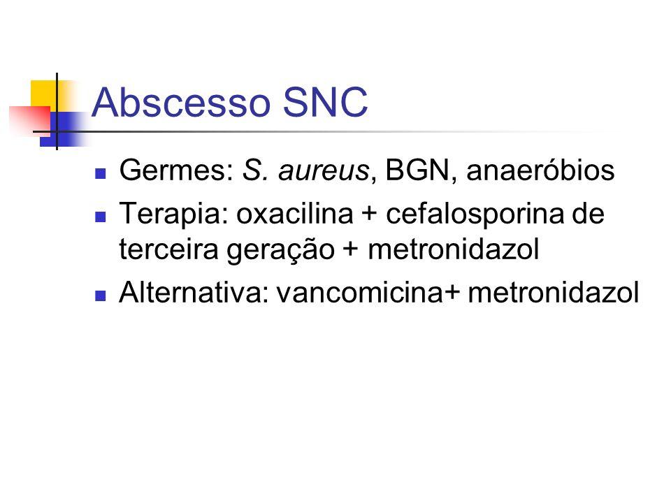 Abscesso SNC Germes: S. aureus, BGN, anaeróbios