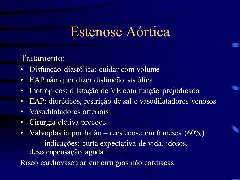 Estenose Aórtica Tratamento: Disfunção diastólica: cuidar com volume