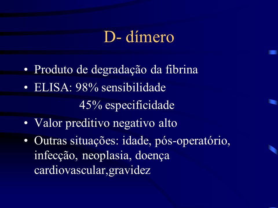 D- dímero Produto de degradação da fibrina ELISA: 98% sensibilidade
