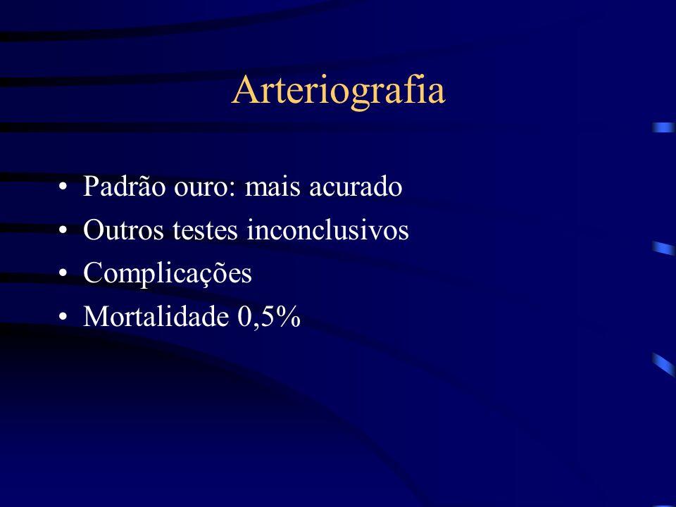 Arteriografia Padrão ouro: mais acurado Outros testes inconclusivos