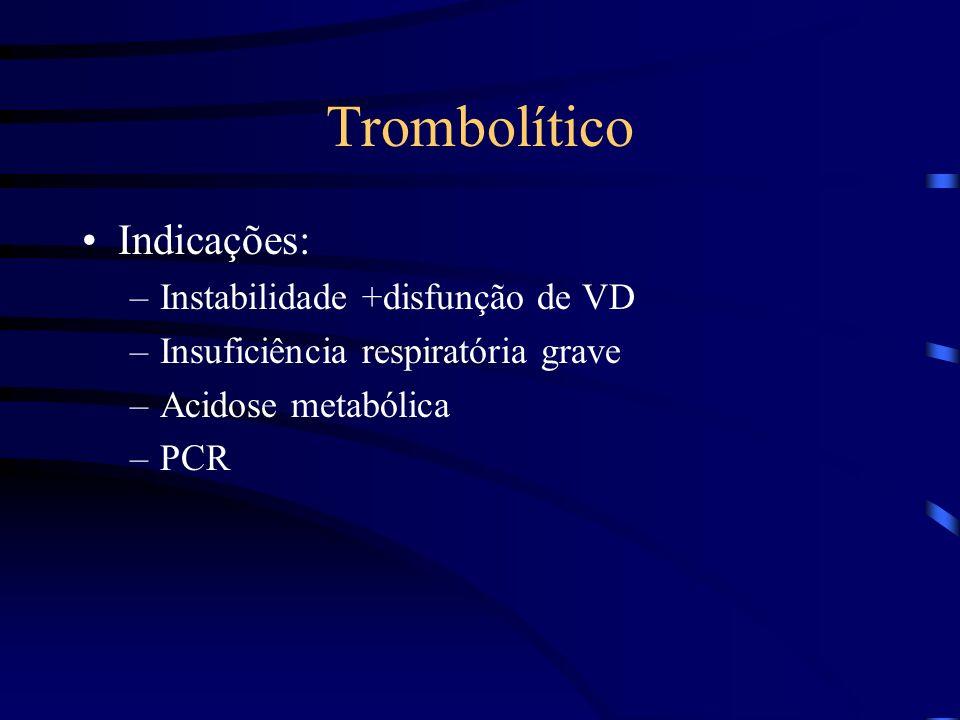 Trombolítico Indicações: Instabilidade +disfunção de VD