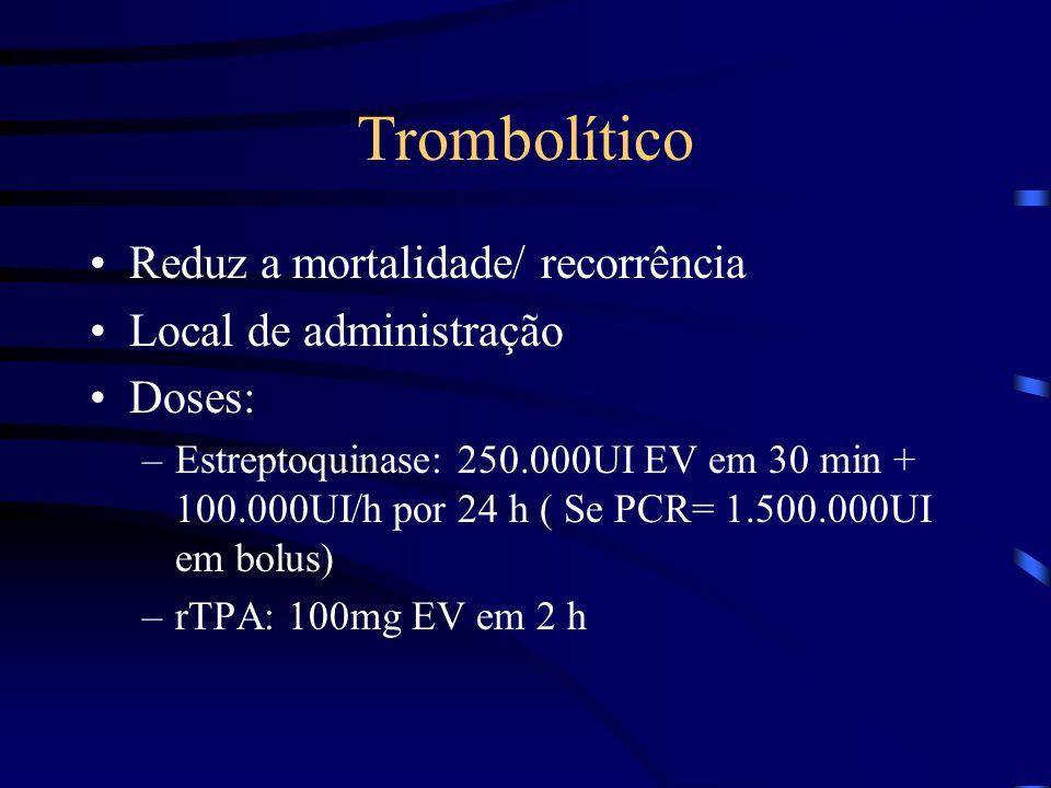 Trombolítico Reduz a mortalidade/ recorrência Local de administração