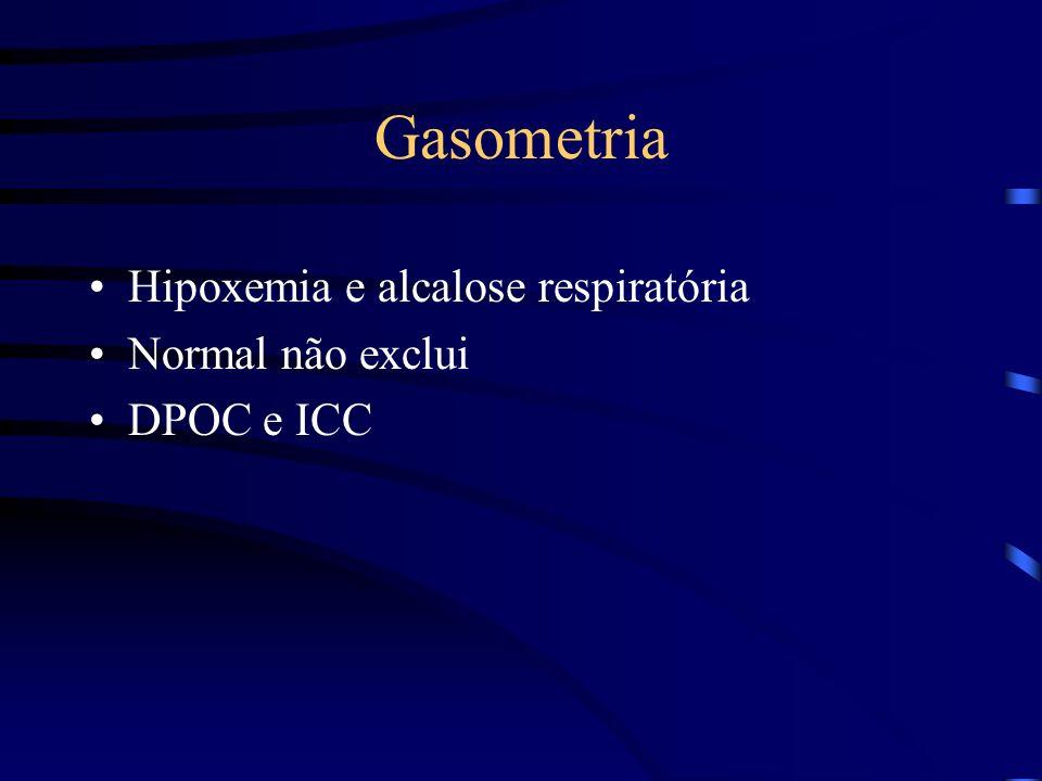 Gasometria Hipoxemia e alcalose respiratória Normal não exclui