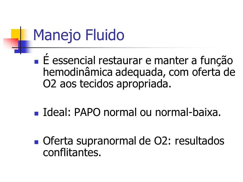 Manejo FluidoÉ essencial restaurar e manter a função hemodinâmica adequada, com oferta de O2 aos tecidos apropriada.