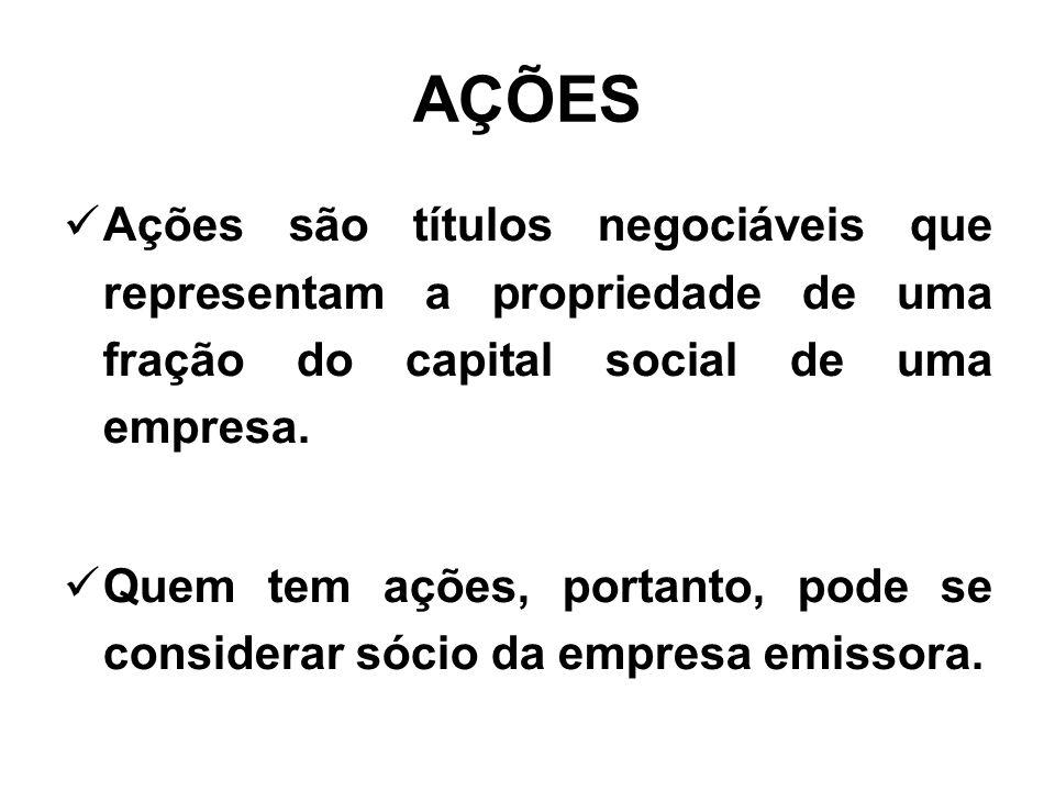 AÇÕES Ações são títulos negociáveis que representam a propriedade de uma fração do capital social de uma empresa.